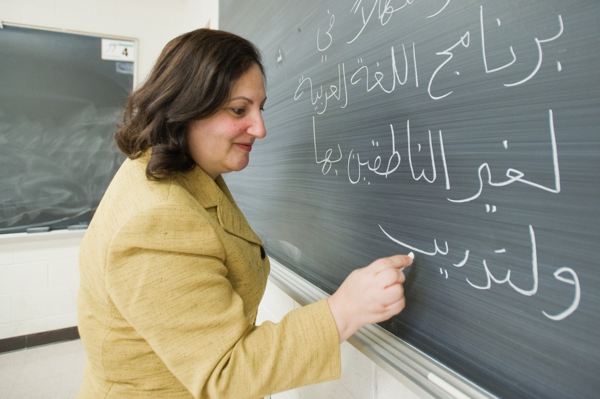 Waffa Hassan writes in arabic class on Monday January 10, 2011.